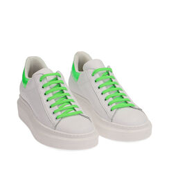 Baskets en cuir blanc/vert, Primadonna, 17L600102PEBIVE035, 002a