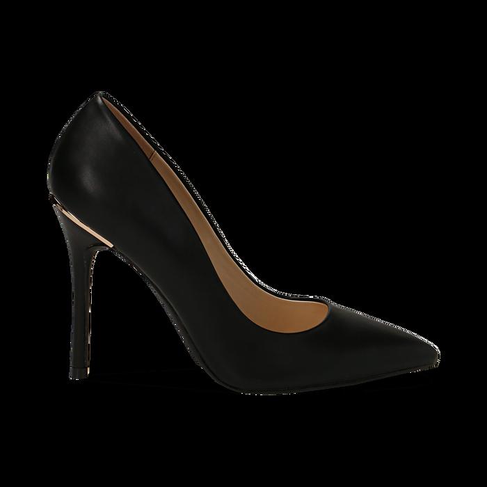 Escarpins noir en simili cuir, talon 11 cm , Primadonna, 152146861EPNERO036