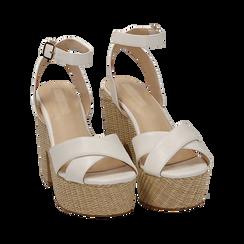 Sandali bianchi in eco-pelle, tacco-zeppa 11,50 cm , Primadonna, 154935671EPBIAN035, 002 preview