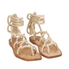 Sandales en tissu crème, Primadonna, 17A131482TSPANN035, 002a