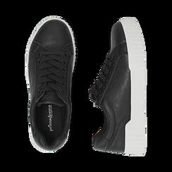 Baskets noir en simili-cuir, Chaussures, 150620171EPNERO037, 003 preview