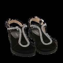 Sandali neri in microfibra con strass, Chaussures, 154928123MPNERO036, 002a