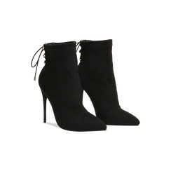 Tronchetti neri con coulisse, tacco stiletto 11,5 cm, Scarpe, 122116005MFNERO035, 002