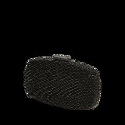 Clutch gioiello nera in microfibra, IDEE REGALO, 165109596MPNEROUNI, 002a