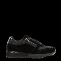 Sneakers nere velluto e dettagli metal, 120127903VLNERO036, 001a