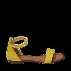 Sandali gialli in microfibra, Chaussures, 154903091MFGIAL035, 001a