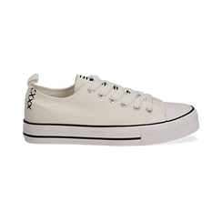 Sneakers bianche in canvas, Scarpe, 137300862CABIAN036, 001 preview