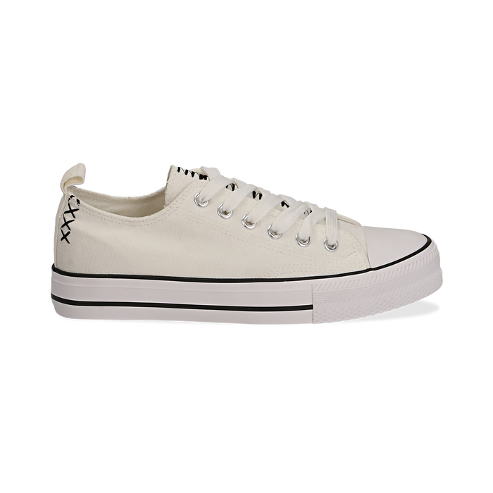 Sneakers bianche in canvas, Scarpe, 137300862CABIAN035
