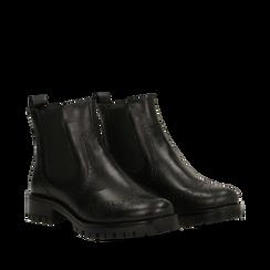 Chelsea boots neri in eco-pelle con lavorazione Duilio, Stivaletti, 140585755EPNERO035, 002a