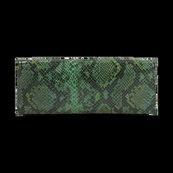 Pochette piatta verde in eco-pelle snake print, Primadonna, 145122510PTVERDUNI, 003 preview