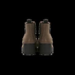 Chelsea Boots taupe in vero camoscio, tacco medio 5,5 cm, Scarpe, 127723509CMTAUP, 003 preview