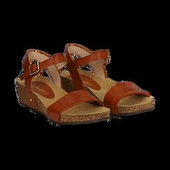 Sandali platform cuoio in eco-pelle, zeppa in sughero 4 cm ,