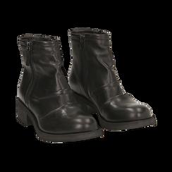 Biker boots neri in pelle, tacco 4 cm , Stivaletti, 147718220PENERO036, 002 preview