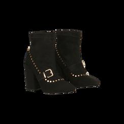 Tronchetti neri maxi-fibbia, tacco 10,5 cm, 122168092MFNERO036, 002