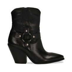 WOMEN SHOES DEMI-BOOT COW-LEATHER NERO, Primadonna, 128900500VINERO036, 001a