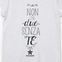 T-shirt bianca in tessuto con stampa nera minimal , Abbigliamento, 13I730077TSGRIGL, 002a