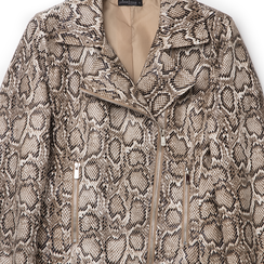 Biker jacket beige in eco-pelle, stampa snake skin, Primadonna, 136501161PTBEIGL, 002a