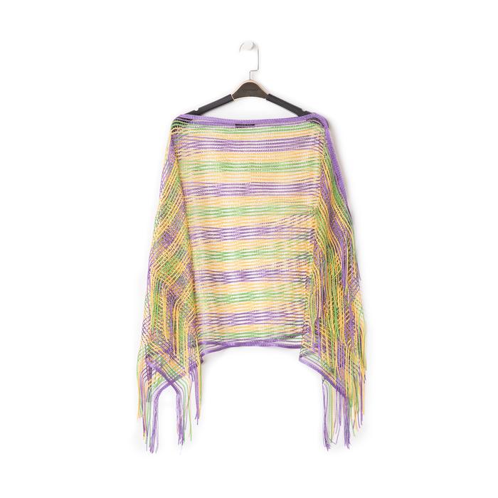 Poncho multicolor in tessuto laminato , Abbigliamento, 13B445051LMMULTUNI