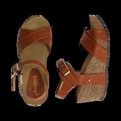 Sandali platform cuoio in eco-pelle, zeppa in sughero 7 cm , Saldi, 132141454EPCUOI036, 003 preview