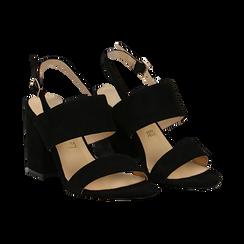 Sandali neri in microfibra con doppia fascia, tacco quadrato 9 cm,