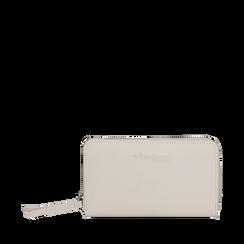 Portafoglio bianco in eco-pelle a tre scomparti, Borse, 133723501EPBIANUNI, 001a
