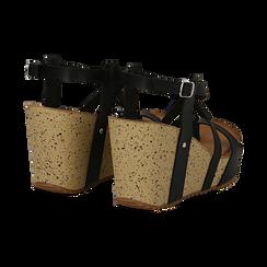 Sandali platform neri in eco-pelle, zeppa in sughero 9 cm , Primadonna, 134901921EPNERO036, 004 preview