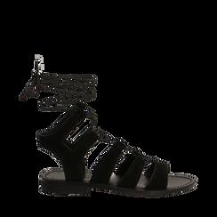 Sandali gladiator nero in camoscio, Scarpe, 138100348CMNERO035, 001a
