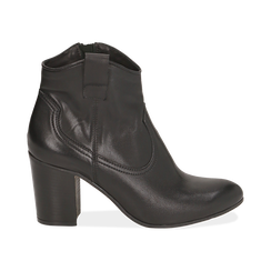 Botines en piel color negro, tacón 7,50 cm, Primadonna, 157725926PENERO035, 001 preview