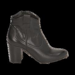 Ankle boots neri in pelle, tacco 7,50 cm, Primadonna, 157725926PENERO036, 001 preview