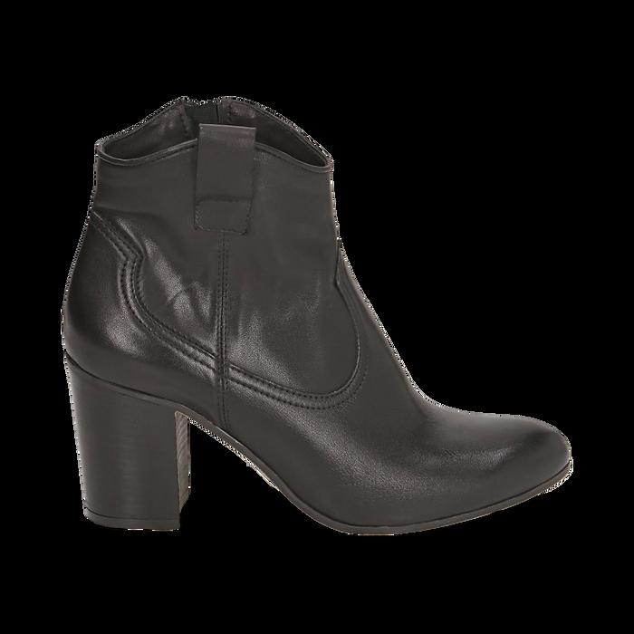 Botines en piel color negro, tacón 7,50 cm, Primadonna, 157725926PENERO035