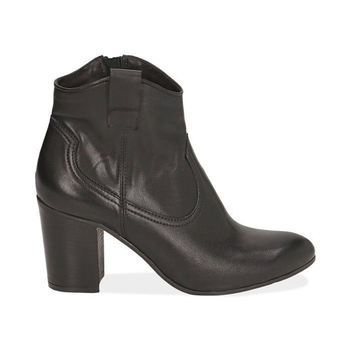 Ankle boots neri in pelle, tacco 7,50 cm, Primadonna, 157725926PENERO036