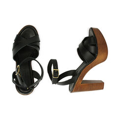 Sandali neri in pelle, tacco 11,5 cm , Primadonna, 174304931PENERO035, 003 preview
