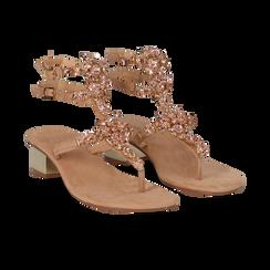 Sandali gioiello infradito nude in microfibra, tacco 6 cm, Primadonna, 134986238MFNUDE035, 002 preview