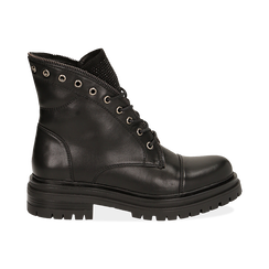 Anfibi neri in eco-pelle con gambale sagomato, Scarpe, 140618196EPNERO035, 001 preview