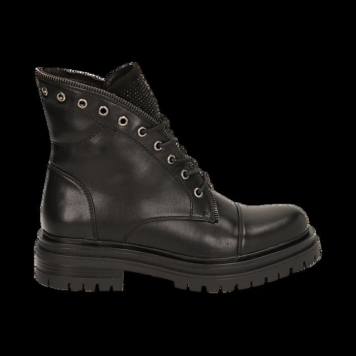 Anfibi neri in eco-pelle con gambale sagomato, Scarpe, 140618196EPNERO035
