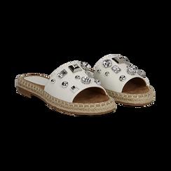 Mules espadrillas bianche in eco-pelle con gemme, Primadonna, 134900008EPBIAN035, 002 preview