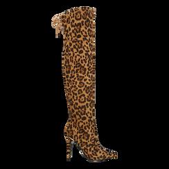 Stivali sopra il ginocchio con tacco 11 cm leopard,