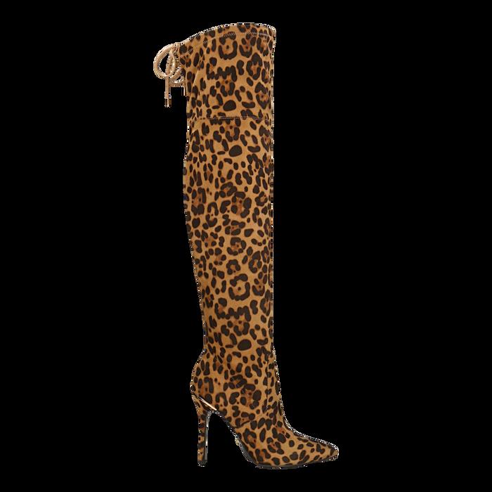 Stivali sopra il ginocchio con tacco 11 cm leopard, Scarpe, 122146868MFLEOP