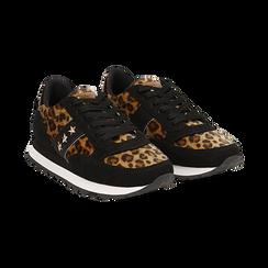 Sneakers leopard marroni in eco-cavallino ,