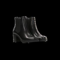 Chelsea Boots neri in vera pelle, tacco medio 6 cm, Primadonna, 127711422PENERO, 002 preview