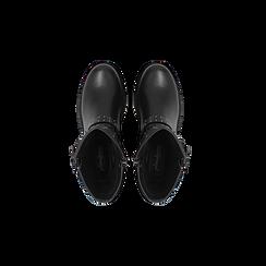 Biker neri con mini-borchie doppia fibbia, Scarpe, 12A709135EPNERO, 004 preview