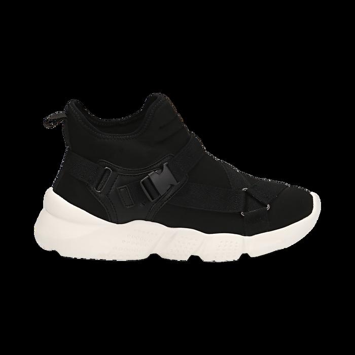 Sneakers a calza nere in lycra, zeppa 6 cm , Scarpe, 14D814509LYNERO036