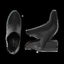 Ankle boots neri in eco-pelle, tacco 8 cm , Stivaletti, 142762723EPNERO036, 003 preview