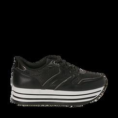 Sneakers flatform nere in eco-pelle, zeppa 4 cm, Scarpe, 139300004EPNERO035, 001a