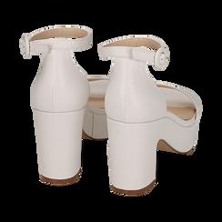 Sandali bianchi, tacco zeppa 8,50 cm, Primadonna, 158480214EPBIAN036, 004 preview