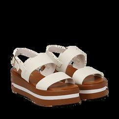 Sandali platform bianchi in eco-pelle, zeppa 5 cm , Scarpe, 132147512EPBIAN035, 002a