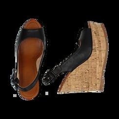 Sandali platform neri in eco-pelle, zeppa in sughero 12 cm , Primadonna, 134907982EPNERO035, 003 preview