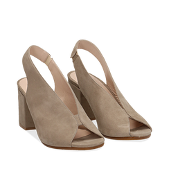 Slingback taupe in camoscio, tacco 8 cm , Primadonna, 13D602014CMTAUP036, 002a