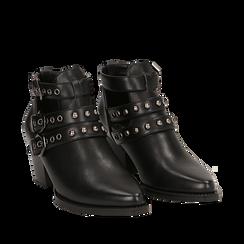 Camperos neri in eco-pelle con borchie, tacco 6 cm , Primadonna, 143021907EPNERO036, 002a