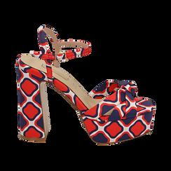 Sandali rossi in raso optical print, tacco 12 cm, Sandali con tacco, 152133401RSROSS036, 001 preview
